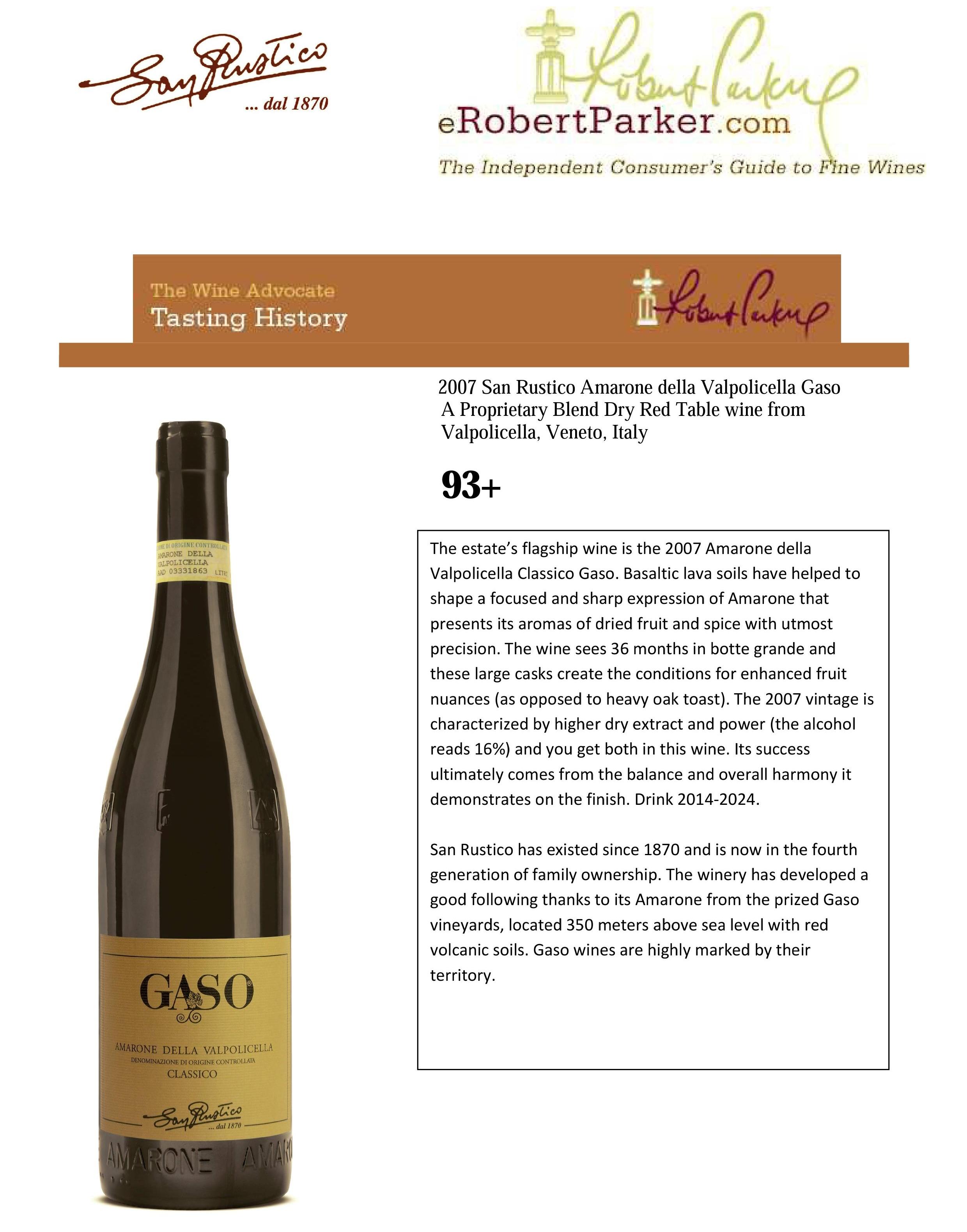 93+ Robert Parker Wine Advocate